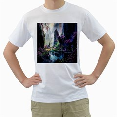 Fantastic World Fantasy Painting Men s T-shirt (white) (two Sided) by Sapixe