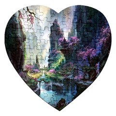 Fantastic World Fantasy Painting Jigsaw Puzzle (heart) by Sapixe