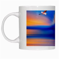Flamingo Lake Birds In Flight Sunset Orange Sky Red Clouds Reflection In Lake Water Art White Mugs