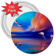Flamingo Lake Birds In Flight Sunset Orange Sky Red Clouds Reflection In Lake Water Art 3  Buttons (100 Pack)  by Sapixe