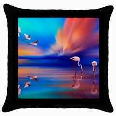 Flamingo Lake Birds In Flight Sunset Orange Sky Red Clouds Reflection In Lake Water Art Throw Pillow Case (black) by Sapixe