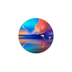 Flamingo Lake Birds In Flight Sunset Orange Sky Red Clouds Reflection In Lake Water Art Golf Ball Marker (4 Pack) by Sapixe