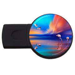 Flamingo Lake Birds In Flight Sunset Orange Sky Red Clouds Reflection In Lake Water Art Usb Flash Drive Round (2 Gb) by Sapixe