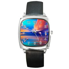 Flamingo Lake Birds In Flight Sunset Orange Sky Red Clouds Reflection In Lake Water Art Square Metal Watch by Sapixe