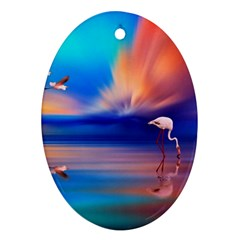 Flamingo Lake Birds In Flight Sunset Orange Sky Red Clouds Reflection In Lake Water Art Oval Ornament (two Sides) by Sapixe