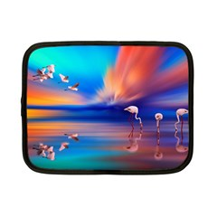 Flamingo Lake Birds In Flight Sunset Orange Sky Red Clouds Reflection In Lake Water Art Netbook Case (small)  by Sapixe
