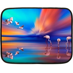 Flamingo Lake Birds In Flight Sunset Orange Sky Red Clouds Reflection In Lake Water Art Double Sided Fleece Blanket (mini)  by Sapixe