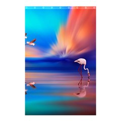 Flamingo Lake Birds In Flight Sunset Orange Sky Red Clouds Reflection In Lake Water Art Shower Curtain 48  X 72  (small)  by Sapixe