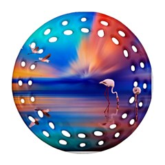 Flamingo Lake Birds In Flight Sunset Orange Sky Red Clouds Reflection In Lake Water Art Round Filigree Ornament (two Sides) by Sapixe