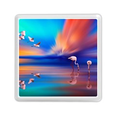 Flamingo Lake Birds In Flight Sunset Orange Sky Red Clouds Reflection In Lake Water Art Memory Card Reader (square)  by Sapixe