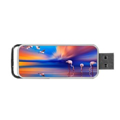 Flamingo Lake Birds In Flight Sunset Orange Sky Red Clouds Reflection In Lake Water Art Portable Usb Flash (one Side) by Sapixe