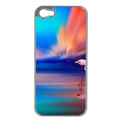 Flamingo Lake Birds In Flight Sunset Orange Sky Red Clouds Reflection In Lake Water Art Apple Iphone 5 Case (silver) by Sapixe