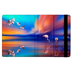 Flamingo Lake Birds In Flight Sunset Orange Sky Red Clouds Reflection In Lake Water Art Apple Ipad 2 Flip Case by Sapixe