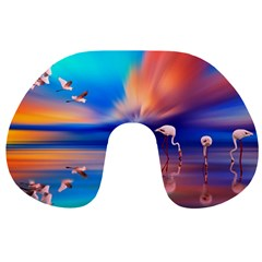 Flamingo Lake Birds In Flight Sunset Orange Sky Red Clouds Reflection In Lake Water Art Travel Neck Pillows by Sapixe