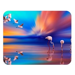 Flamingo Lake Birds In Flight Sunset Orange Sky Red Clouds Reflection In Lake Water Art Double Sided Flano Blanket (large)  by Sapixe