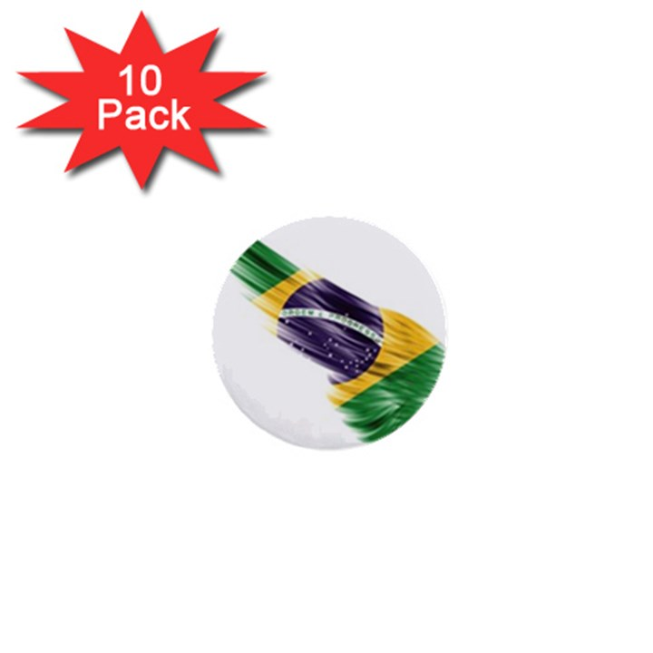 Flag Of Brazil 1  Mini Buttons (10 pack)