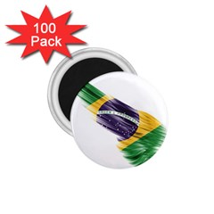 Flag Of Brazil 1 75  Magnets (100 Pack)