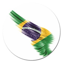 Flag Of Brazil Magnet 5  (round) by Sapixe