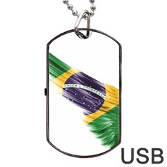 Flag Of Brazil Dog Tag Usb Flash (two Sides) by Sapixe