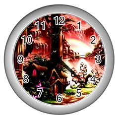Fantasy Art Story Lodge Girl Rabbits Flowers Wall Clocks (silver)  by Sapixe
