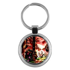 Fantasy Art Story Lodge Girl Rabbits Flowers Key Chains (round)