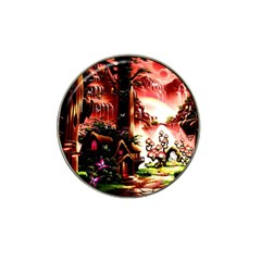 Fantasy Art Story Lodge Girl Rabbits Flowers Hat Clip Ball Marker