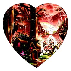 Fantasy Art Story Lodge Girl Rabbits Flowers Jigsaw Puzzle (heart)