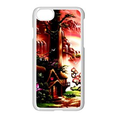 Fantasy Art Story Lodge Girl Rabbits Flowers Apple Iphone 7 Seamless Case (white) by Sapixe