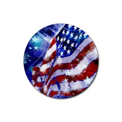 Flag Usa United States Of America Images Independence Day Rubber Coaster (round)  by Sapixe