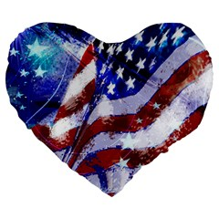 Flag Usa United States Of America Images Independence Day Large 19  Premium Heart Shape Cushions