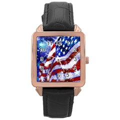 Flag Usa United States Of America Images Independence Day Rose Gold Leather Watch  by Sapixe