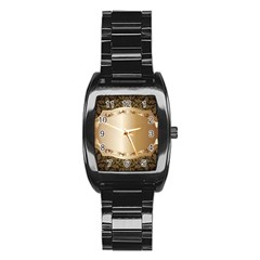 Floral Metal Pattern Stainless Steel Barrel Watch