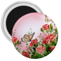 Flora Butterfly Roses 3  Magnets by Sapixe
