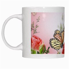 Flora Butterfly Roses White Mugs