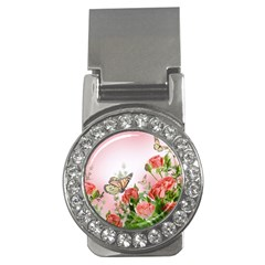 Flora Butterfly Roses Money Clips (cz)  by Sapixe