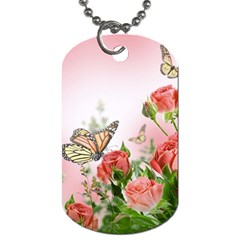 Flora Butterfly Roses Dog Tag (one Side)