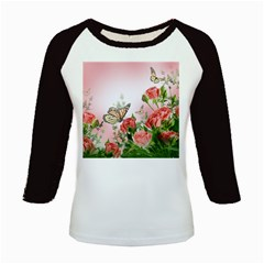 Flora Butterfly Roses Kids Baseball Jerseys