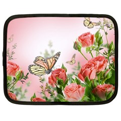 Flora Butterfly Roses Netbook Case (xxl)  by Sapixe