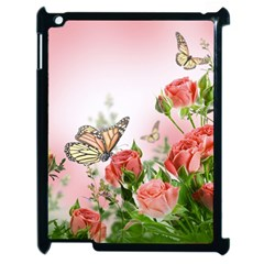 Flora Butterfly Roses Apple Ipad 2 Case (black) by Sapixe