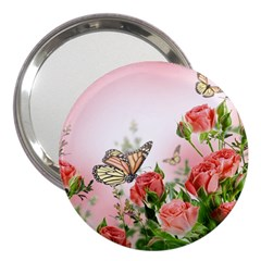 Flora Butterfly Roses 3  Handbag Mirrors by Sapixe
