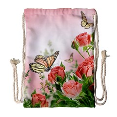 Flora Butterfly Roses Drawstring Bag (large) by Sapixe
