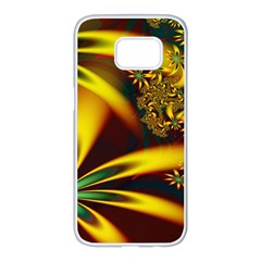 Floral Design Computer Digital Art Design Illustration Samsung Galaxy S7 Edge White Seamless Case