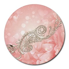 Wonderful Soft Flowers With Floral Elements Round Mousepads by FantasyWorld7