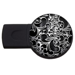 Floral High Contrast Pattern Usb Flash Drive Round (2 Gb)