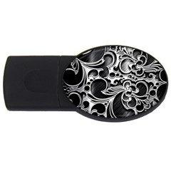 Floral High Contrast Pattern Usb Flash Drive Oval (4 Gb)