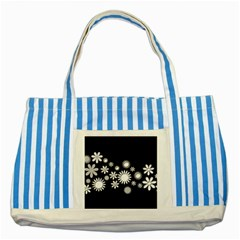 Flower Power Flowers Ornament Striped Blue Tote Bag by Sapixe
