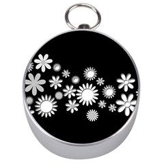 Flower Power Flowers Ornament Silver Compasses by Sapixe