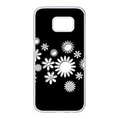 Flower Power Flowers Ornament Samsung Galaxy S7 Edge White Seamless Case by Sapixe