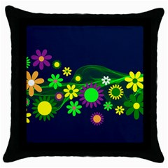 Flower Power Flowers Ornament Throw Pillow Case (black) by Sapixe