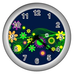 Flower Power Flowers Ornament Wall Clocks (silver)  by Sapixe